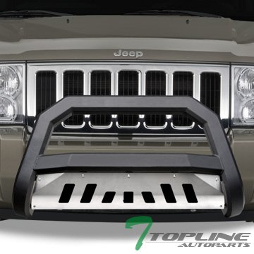 Topline Autopart Matte Black AVT Style Bull Bar Brush Push Front Bumper Grill Grille Guard With Aluminum Skid Plate For 05-07 Jeep Grand Cherokee ; 06-10 Commander