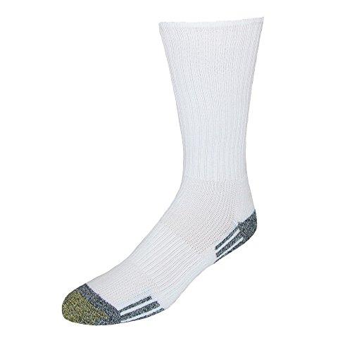 Gold Toe Men's Outlast Crew Socks, 3-Pack, White, Shoe Size: 6-12.5