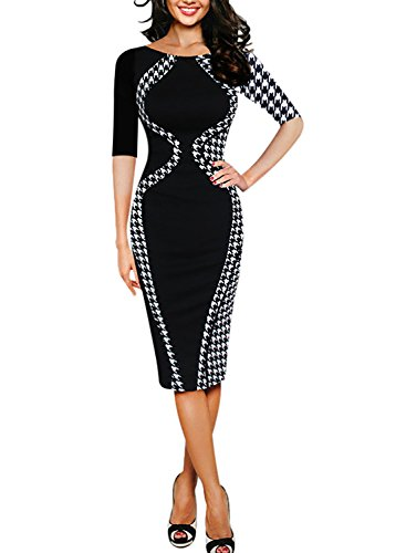 Elegant Vintage Colorblock Career Tunic Bodycon Midi Dress (Medium, Black)