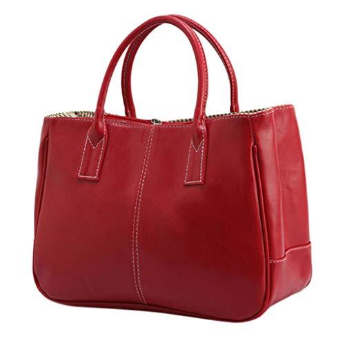 Leather Handbags for Women Top Handle Handbags Large Capacity Cosmetic Travel Bag Waterproof Tote Bags Purse (Red)