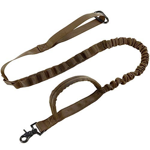 Pettom Heavy Duty Adjustable Nylon Tactical Military US Army Police Dog Training Leash Elastic Pet Quick Release Control Leads Rope(Brown)