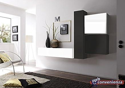 Cube 3 G Bianco Lucido e Grigio Scuro Opaco Parete Attrezzata ...