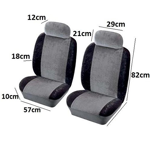 QUALITY FRONT PAIR BLACK AIRBAG CLOTH FABRIC CAR SEAT COVER PROTECTOR EASY FIT AutoPower