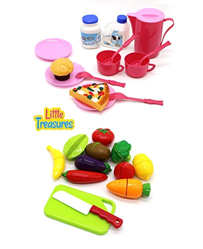 Meal Mini Set (Little Treasures 2 in 1 Mini Food Meal Serving Set for Kids 3+ Invite Early Dramatic Play, Build Vocabulary – Pretend-Play Mealtime routines and More with The Most Familiar Food to Toddlers)