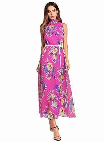 Floreale Stampa All'americana Fiori Donne Ruiyige Scollo Epoca Delle Tipo Vestito rosei Di Maxi Maniche 3 Xwftq5vn