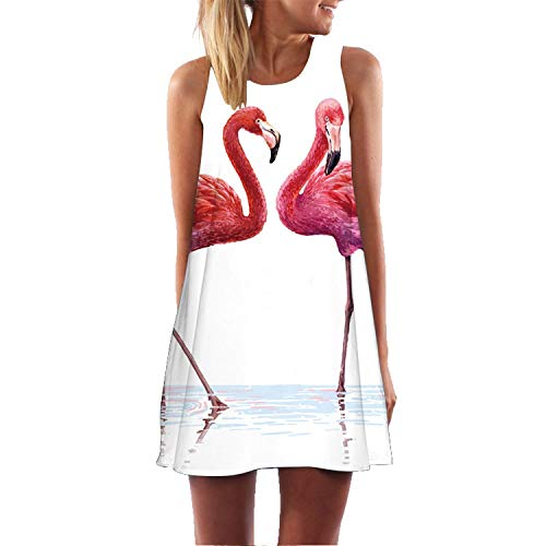 Plus S-3XL Less Beach Boho Dress Flamingo Floral Print for sale  Delivered anywhere in Canada