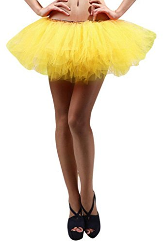 Sexy Tutus (Women's, Teen, Adult Classic Elastic 3, 4, 5 Layered Tulle Tutu Skirt (One Size, Yellow 5Layer))