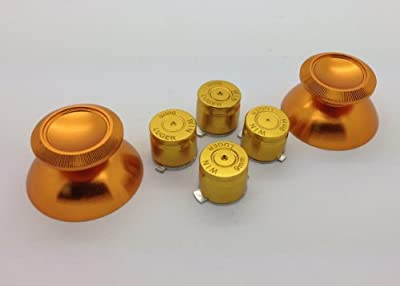 Metal Gold Bullet Buttons + Thumbsticks For Dual Shock 4 PS4 Controller Mod Kit by E-MODS GAMING