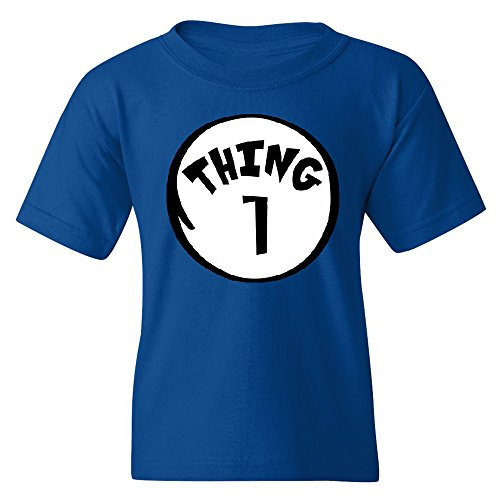 Costume In The Ideas Hat Cat The (CUSC Thing 1 Unisex Youth T-shirt Funny Halloween Costume Xmas Humor Tee Red)