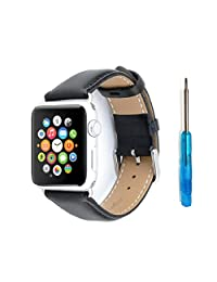 Minisuit Genuine Leather Band for Apple Watch Edition 38mm (Black)