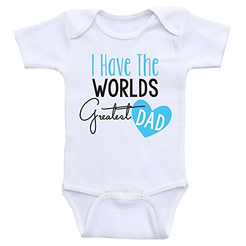Heart Co Designs Cute Baby Bodysuit I Have The Worlds Greatest Dad Onesies for Babies (6mo-Short Sleeve, Baby Blue Text)
