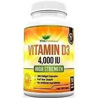 Vitamin D 4,000 IU, Maximum Strength Vitamin D3 Supplement, 365 Easy to Swallow Softgels - Full Year Supply