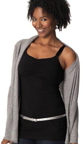Glamourmom Nursing Bra Full-Bust Long Top (Black, Medium) (Glamourmom Nursing Bra Tank compare prices)