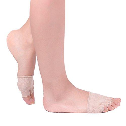Flammi 5 Pairs Women's Toe Topper Socks Peep Toe Socks No Show Half Toe Forefoot Socks (Khaki) ()