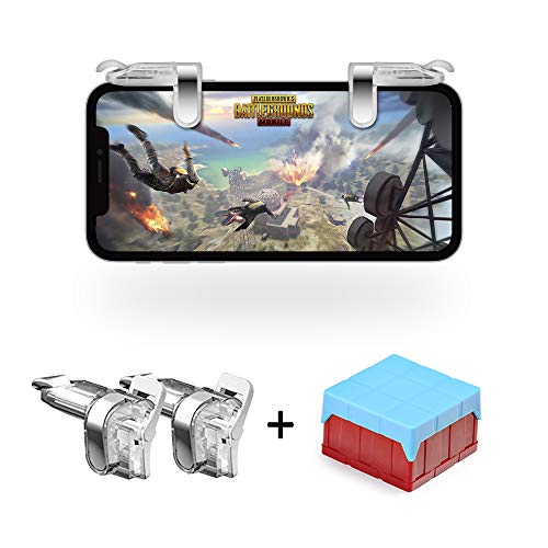 Mobile Game Controller, Jizmo High Sensitive Shoot Aim Keys L1R1 Triggers PUBG Mobile/Fortnite / Knives Out TPS/FPS Games, Compatible Android iPhone