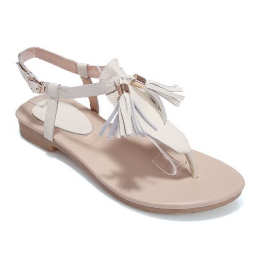 AmoonyFashion Womens Open Toe Low Heel Soft Material Cow Leather Solid Thong Sandals with Tassels White U33Pi5Ok93