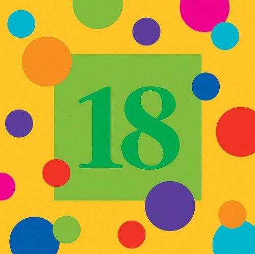 Birthday Stripes 18th Birthday 3-Ply Beverage Napkins 16 Per Pack B001GQFX9A