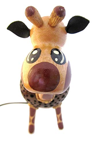 Animal Night Light for Kids Wood Coconut Shell Lamp for Bedroom from Thailand (Giraffe) by Blue Orchid (Image #3)