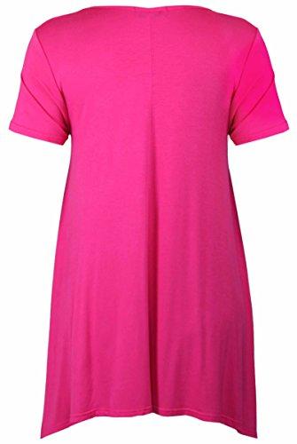 Cerise motivo corte casacca fazzoletto Le maglia donna Plus orlo irregolari Top Shirt Nuovo misure da con donna stampa da floreale T maniche floreale Rq1wP1ZB