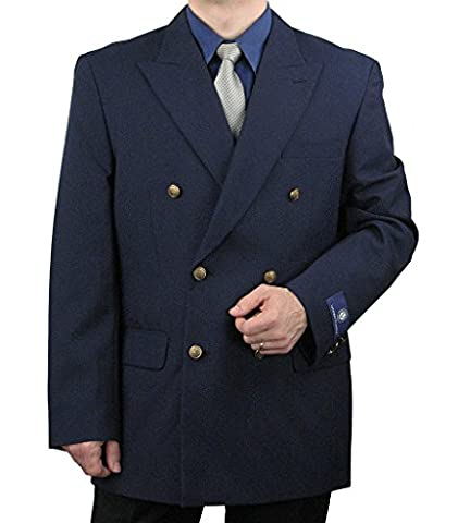 Attractive Men's Double Breasted Blazer w/matching Brass Buttons - Navy 42R - Breasted Navy Blazer