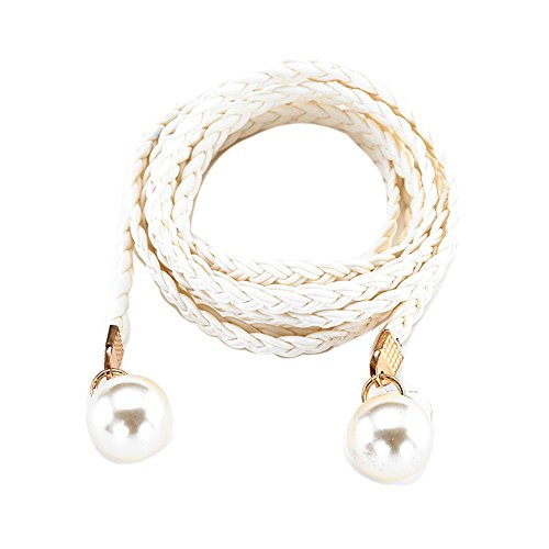- Belts for Women No Buckle Womens Belt Style Candy Colors Hemp Rope Braid Belt Female Belt Waist Chain Belt for Dress Jeans Under 5 Dollars (White)