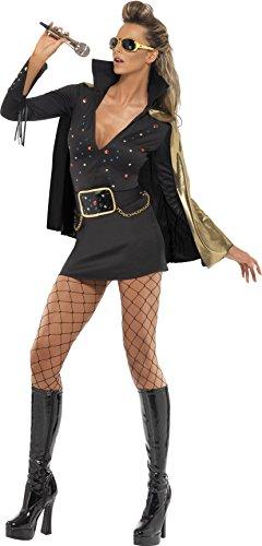 Smiffy's Women's Elvis Viva Las Vegas Costume, Dress & Cape, Size: 12-14,