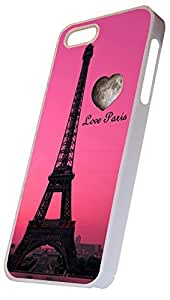 Love Paris Eiffel Tower Heart Design, iPhone 5 Hard Case White, Apple iPhone 5s Hard Cover White, by Sublifascination 12 DOES NOT FIT THE IPHONE 5C