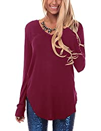 Women Long Sleeve T Shirt Tunic Tops Plain Casual Basic Blouse Shirts Tees Top