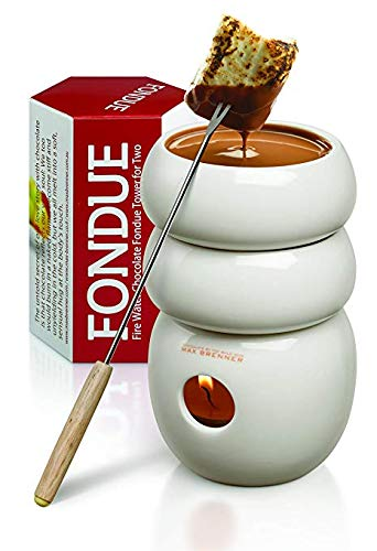 Mini Chocolate Fondue Set - Fire Water Chocolate Fondue Tower for Two: White Ceramic 3 Ounce Double-Decker Mini Pot Boiler and Candle Holder Melter with 2 Forks by Max Brenner