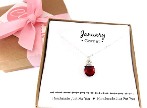 - Garnet Gemstone January Birthstone Necklace - Sterling Silver Briolette Teardrop Jewelry - Gift for Her