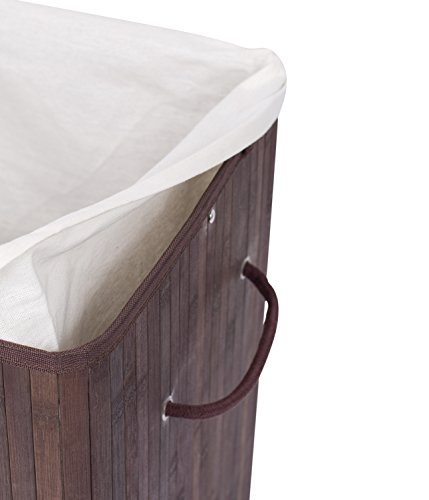 BirdRock Home Square Laundry Hamper with Lid and Cloth Liner | Bamboo | Espresso | Easily Transport Laundry Basket | Collapsible Hamper | String Handles by BirdRock Home (Image #9)