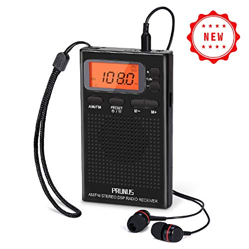 Portable AM FM Pocket Radio with Earphones, Digital Battery Operated Walkman Radio with Preset, Timer, Alarm Clock, Lock Station for Jogging, Walking, Traveling by PRUNUS