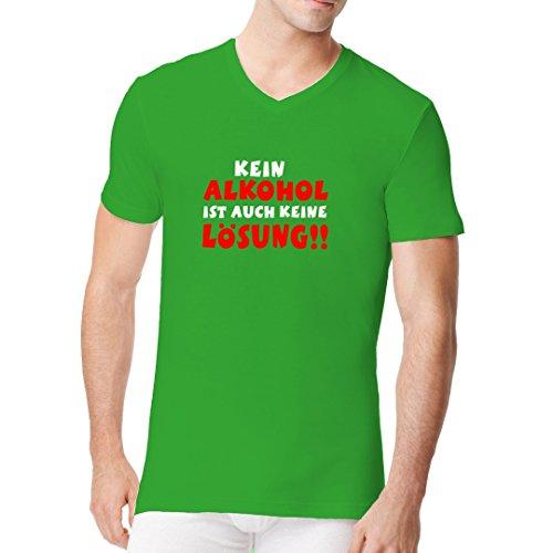 Fun Sprüche Männer V-Neck Shirt - Alkohol Lösung by Im-Shirt Kelly Green