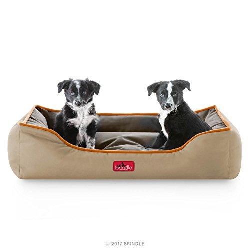 BRINDLE Waterproof Bolster Dog Bed with Reversible Color Design - Durable Indoor or Outdoor Pet Bed - Machine Washable - Soft Fiber Filled - Medium - Hunter Brown
