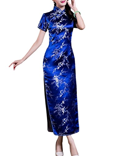 Qipao Bleu Fleur de Party en Asiatique Manche Long TM Courte Cheongsam Robe Soire Motif Brocart Femme XueXian qYtazPw