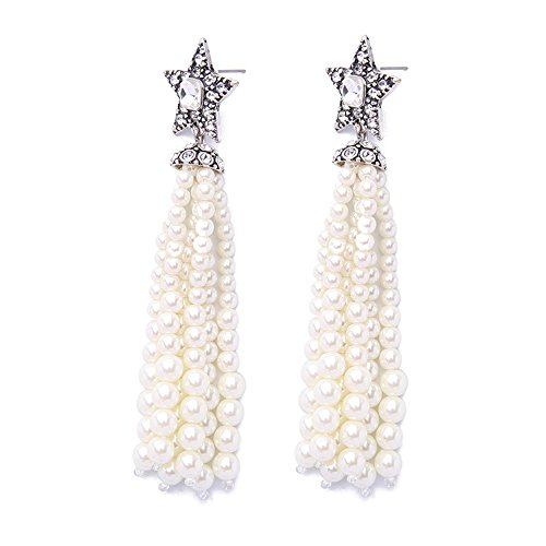 ds Earrings Drop Dangling Earrings with Simulated Pearl Crystal Fashion Jewelry for Women (Star) ()