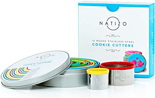 Natizo Deluxe Pastry Cookie Cutter Set - 12 Piece Round Biscuit Cutters - Stainless Steel Circle Molds with Comfortable Silicone Tops - Size on Every Cookie Cutter