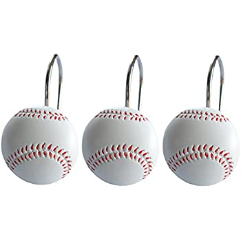 Doupoo Home Decorative Baseball Shower Curtain Hooks Set Of 12