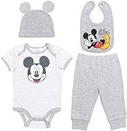Disney Mickey Mouse 4 Piece Layette Set: Short Sleeve Bodysuit Pants Hat Bib