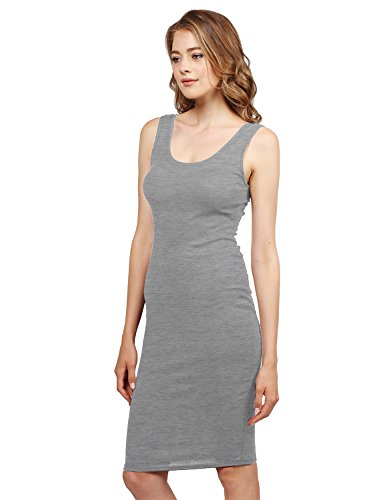 Sleeveless Midi Length Rib Tank Dress Gray Size L