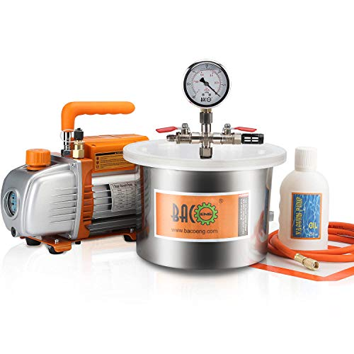 BACOENG 1 1/2 Gallon Vacuum Chamber Kit with 3.6 CFM 1 Stage Vacuum Pump HVAC ()