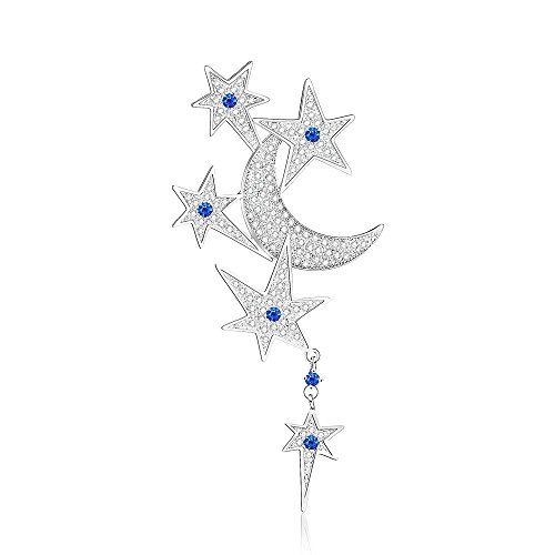 Aprilery Star and Moon Silver Paved Cubic Zirconia Brooch Pins for Women and Girls Jewelry