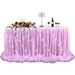 LED Table Skirt 6ft Pink Tulle Table Skirt Tutu Table Skirting for Rectangle or Round Table for Baby Shower Wedding and Birthday Party Decoration (L6(ft) H 30in)