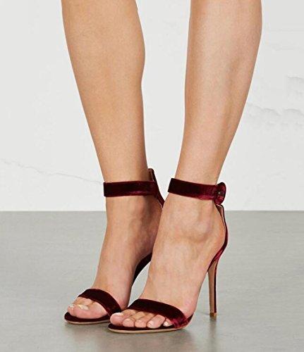 scarpe caviglia tacco nero da con Scarpe da rosso americana donna e sandali Parola di con con donna velluto Nude fibbia alla alto SHINIK europea i con 67xfqgRR