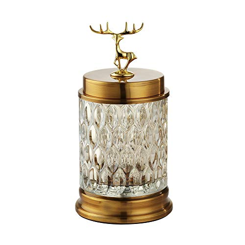 Deer Decorative Jars with lids for Home décor Bedroom Bathroom countertop,Apothecary Jars in American Style for Living Room,Deer Table Ornaments Multifunctional Luxury Furnishings Crafts for Wedding ()