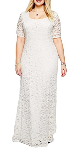 Eudolah Plus Size Scoop A-line Long Maxi Lace Gown White Size 22 plus