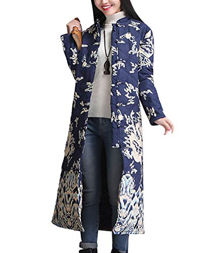 YESNO T300 Women Long Quilted Jackets Chinese Traditional for sale  Delivered anywhere in USA