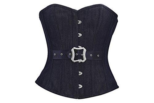 シェトランド諸島軽蔑する利得Black Denim Leather Belt Gothic Steampunk Waist Training Overbust Corset Costume