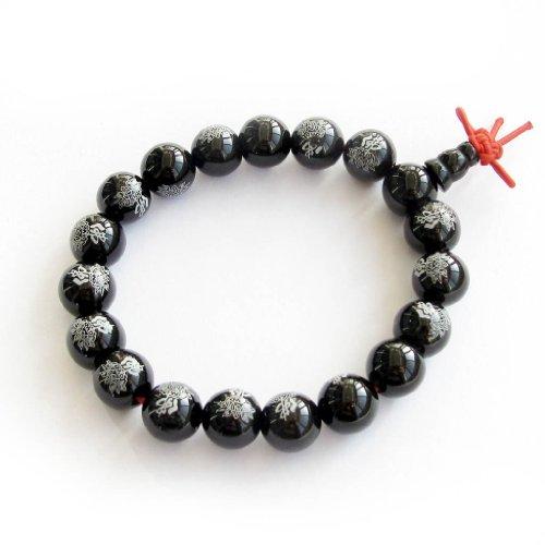 UPC 730669010019, 10mm Black Heat Treated Agate Beads Tibetan Buddhist Prayer Meditation Wrist Mala Bracelet