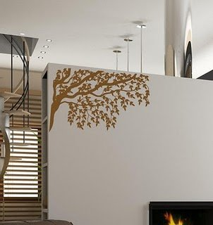Gorgeous Tree Branches And Leaves Vinyl Wall Decal Decal Color Gold Metallic